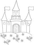Castle on a mountain coloring page Stock Photos
