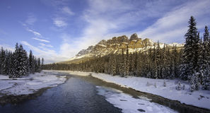 Castle Mountain glowing in Evening Light Royalty Free Stock Images