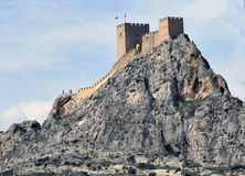 Castle on the mountain. Mountain fortress. Spain. Fortress at mountain top stock photography