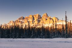 Winter sunset at Castle Mountain, Banff National Park, Travel Alberta, Radium Hot Springs, Canada,Canadian Rockies,Rocky Mountains royalty free stock images