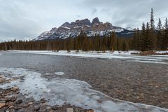 Winter sunset at Castle Mountain, Banff National Park, Travel Alberta, Radium Hot Springs, Canada,Canadian Rockies,Rocky Mountains stock photos