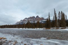 Winter sunset at Castle Mountain, Banff National Park, Travel Alberta, Radium Hot Springs, Canada,Canadian Rockies,Rocky Mountains stock photography
