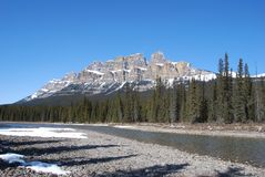Castle Mountain in the Rockies Stock Images