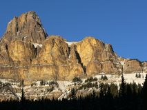 Castle Mountain in Winter. Castle Mountain cliffs covered in snow. Banff National Park, Alberta, Canada Stock Image