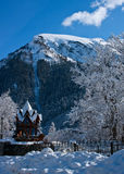 Castle in the mountains. Dombay, Caucasus. The image may be used for Christmas cards Royalty Free Stock Photo