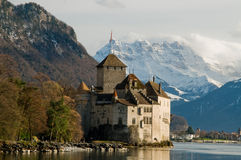 Castle and mountains. Montreux castle near lake with nice view Stock Image