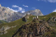 Castle and mountains Royalty Free Stock Photography