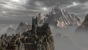 Castle in the mountains vector illustration