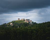 Castle at a moutain stock photography