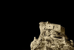 The castle of mussomeli, high contrast sepia Royalty Free Stock Photos