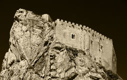 The castle of mussomeli, high contrast sepia Stock Photos
