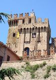 Castle near Ancona, Marche, Italy. Medieval castle with battlements and flag near Ancona, Italy Royalty Free Stock Image