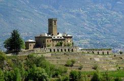Castle near Aosta, Italy. The Sainte-Pierre Castle - ancient castle in the Aosta Valley, Italy Stock Photo