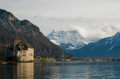 Castle near lake. Montreux castle near lake with nice view royalty free stock photo
