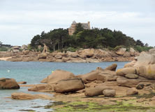 Castle near Perros-Guirec. Idyllic castle near Perros-Guirec at the Pink Granite Coast in Brittany, France Stock Images