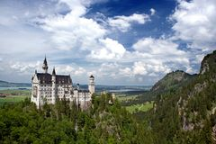 Castle Neuschwanstein. Neuschwanstein in south Bavaria in Germany, beautifull castle on the top of the hill built by Ludwig II Royalty Free Stock Photo
