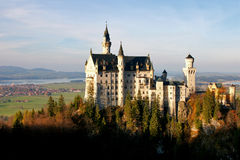 Castle of Neuschwanstein. In fall foliage, View from Marien-Bridge stock photo