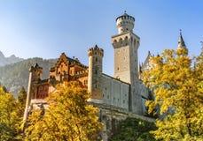 Castle Neuschwanstein autumn colors Stock Photography