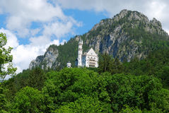 Castle Neuschwanstein in mountain forest, Alps Royalty Free Stock Photo