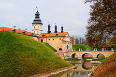 Castle in Niasvizh. The Republic of Belarus. Niasvizh castle. The moat and bridge, the entrance to the building Stock Image