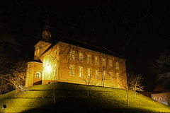 Castle at night. Old farm Stock Image