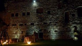 Castle Night Attack Trebuchet stock video footage