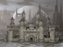Castle by night - 3D render Stock Photo