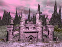 Castle by night - 3D render Stock Images