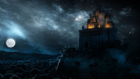 Castle In The Night. High quality stylish and unique landscape, architecture and atmosphere in the night. A digital illustration that created from scratch Stock Photos