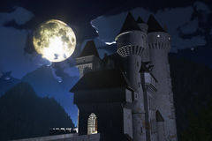 Castle at Night in the Mountains 3D render royalty free illustration