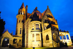 Castle night scene in victoria Stock Photo