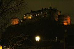 Castle in the night Scotland royalty free stock images