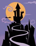 Castle of nightmares. A cartoon castle emerging in the night Royalty Free Stock Image