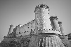 Castle nuovo in Naples, in black and white. Naples Stock Image