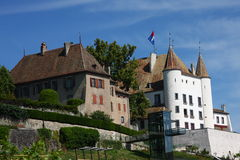 Castle of Nyon. The small castle of Nyon by Lake Geneva Stock Images