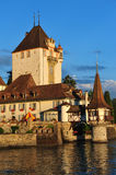 Castle Oberhofen. And Lake Thun on a sunny and warm summer evening, Switzerland Royalty Free Stock Photos