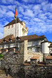 Castle of Oberhofen. At the lake of Thun, Switzerland Royalty Free Stock Image
