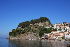 Castle and old colorful buildings Parga Stock Photo