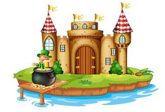 A castle with an old man inside a pot of coins Stock Images
