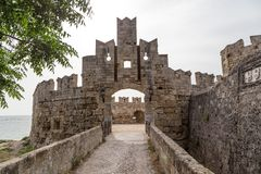 Castle of old town Rhodes in Greece Stock Photos