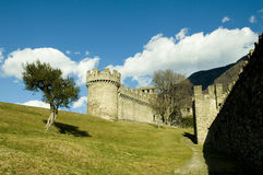 Castle and olive tree Royalty Free Stock Photo