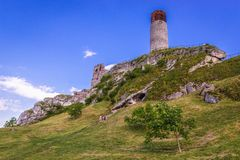 Castle in Olsztyn, Silesia region. Olsztyn, Poland - July 2, 2017: Tower of castle in Olsztyn village, one of the chain of 25 medieval castles called Eagles royalty free stock image