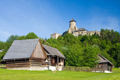 Castle and an open air folk museum Stock Photos