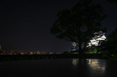 Castle in Osaka by night Royalty Free Stock Photography