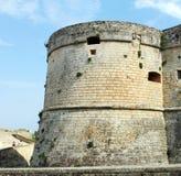 The Castle of Otranto - Corigliano d`Otranto, Apulia, Italy. A Baroque facade built during the 17th century. With decorative corbels Stock Photo