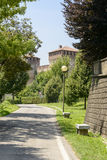 Castle and out the walls road view from south east, Soncino Stock Photography