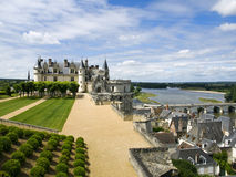 The castle over the city of Amboise. Nice view of Amboise Castle and the roofs of some beautiful medieval houses Royalty Free Stock Photo
