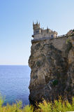 Castle over the sea. Old castle on rock over the sea stock photos