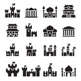 Castle & palace icons Stock Photos