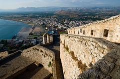 Castle Palamidi and village of Nafplion Stock Photos
